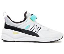 Sneakers aus Beschichtetem Glatt- und Narbenleder mit Mesh-besatz
