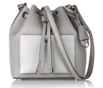 Greenwich Small Metallic-paneled Textured-leather Bucket Bag Grau