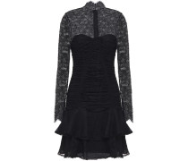 Tiered Ruched Chantilly Lace Mini Dress