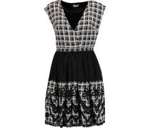Kristine Appliquéd Printed Silk Mini Dress Schwarz