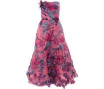 Strapless Appliquéd Floral-print Organza Gown Pink Size 12