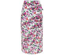 Kelly Bow-embellished Printed Silk Crepe De Chine Midi Skirt