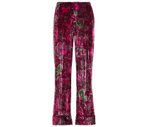 Woman Etere Floral-print Ribbed Velvet Straight-leg Pants Magenta