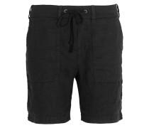 Cotton Jersey-trimmed Linen Shorts Schwarz