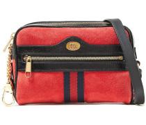 Leather-trimmed Suede Shoulder Bag