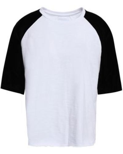 Velvet-paneled Cotton-jersey T-shirt White Size 0