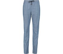 Cotton-chambray Tapered Pants Blau