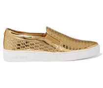Colby Metallic Leather Slip-on Sneakers Gold