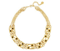 Gold-plated black cabochon necklace