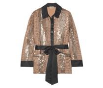 Belted Silk Satin-trimmed Sequin-embellished Georgette Shirt
