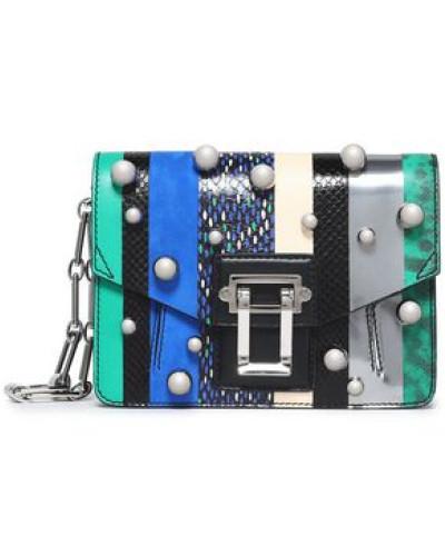 Proenza Schouler Damen Faux pearl-studded paneled leather shoulder bag