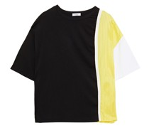 Paneled Striped Twill And Cotton-jersey T-shirt