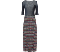 Paneled Intarsia And Ribbed-knit Midi Dress