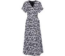 Wrap-effect Floral-print Silk-blend Crepe Midi Dress
