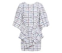 Draped Bouclé-tweed Mini Dress