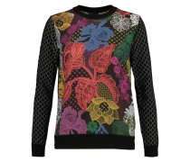 Floral-print Crepe De Chine-paneled Jacquard-knit Wool-blend Sweater Schwarz