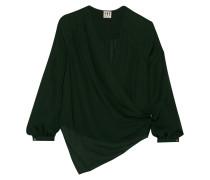 Asymmetric Silk Shirt Tannengrün