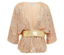 Metallic Leather-trimmed Gathered Sequined Tulle Jacket