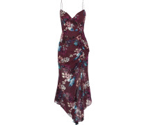 Asymmetric Ruched Floral-print Silk-georgette Midi Dress