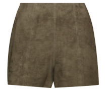 Suede Shorts Armeegrün