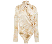 Draped Floral Silk-satin Jacquard Bodysuit