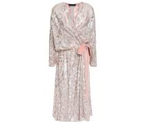 Embellished Velvet-trimmed Georgette Wrap Dress