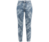 Frayed Printed Mid-rise Slim-leg Jeans