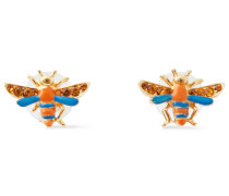 24-karat -plated, Swarovski Crystal And Enamel Earrings