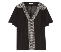 Roman  gathered embroidered silk-crepe top