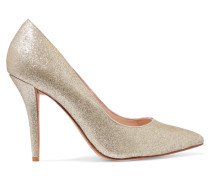 Adelite Glittered-leather Pumps Gold