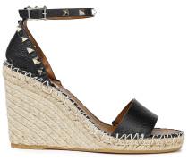 Rockstud Pebbled-leather Espadrille Wedge Sandals
