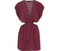 Lola Amber Minikleid aus Voile mit Polka-dots, Cut-outs und Bindedetail Vorne