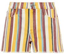 Le Cutoff Frayed Striped Denim Shorts