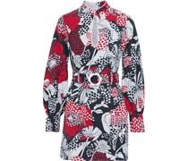 Michelle Belted Floral-print Cotton-canvas Mini Dress