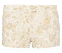 Floral-appliquéd Silk Shorts Elfenbein