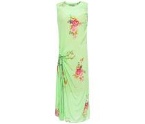 Gathered Printed Crepe De Chine Midi Dress
