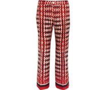 Ceo printed silk-twill straight-leg pants