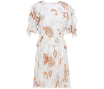 Metallic Floral-print Silk And Cotton-blend Chiffon Dress