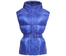 Metallic Quilted Shell Hooded Down Vest
