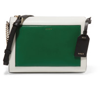 Smooth, Textured And Patent Leather Shoulder Bag Grün