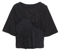 Woman Gathered Jersey-paneled Tencel-blend Crepe De Chine Top Black