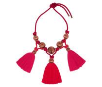 Tassled Enameled Bead Necklace Rot