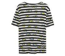 Bedrucktes T-shirt aus Baumwoll-jersey mit Flammgarneffekt