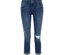 Woman Stevie Cropped Distressed High-rise Slim-leg Jeans Mid Denim