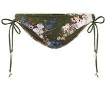 Halbhohes Bikini-höschen mit Blumenprint, Schnürung und Kristallverzierung