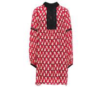 Guipure Lace-trimmed Printed Silk Crepe De Chine Mini Dress