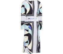 Belted Printed Wool-blend Jersey Midi Dress