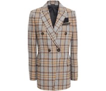 Double-breasted Checked Wool-blend Blazer