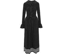 Smocked ruffled polka-dot silk jumpsuit