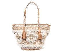 Bally embellished woven raffia tote